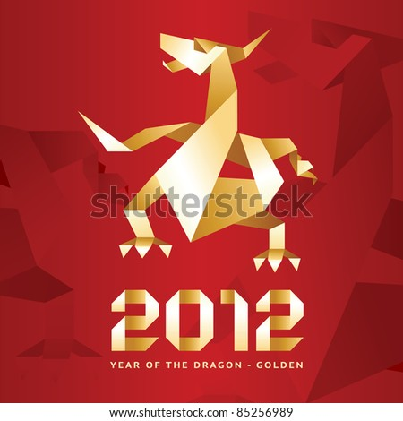 Origami Dragon, 2012 Year - Red & Gold. many my work Dragons: http://www.shutterstock.com/sets/74171-dragons.html?rid=512323