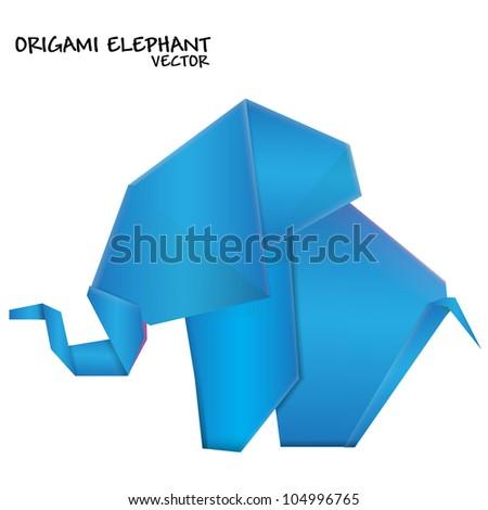 Origami elephant. Vector