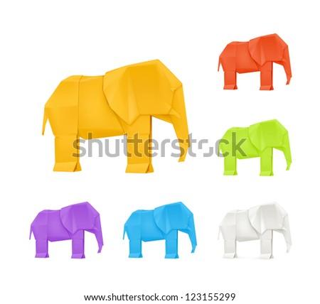 Origami elephants, vector set