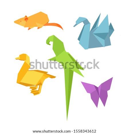 origami figures vector