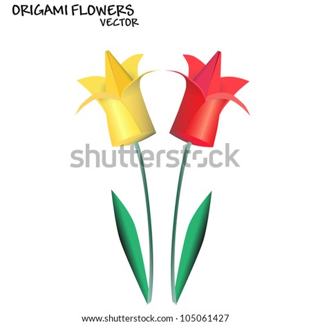Origami flowers. Vector