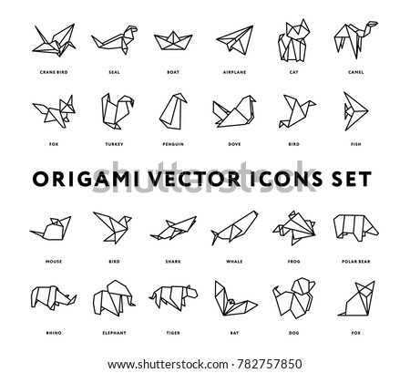 Origami Folded Paper Animals Shapes. Bird, Crane, Cat, Dog, Rhino, Fox, Mouse, Elephant. Flat Line Outline Stroke Icon Illustration Set Collection