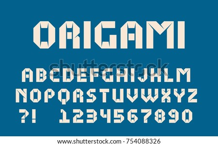 Origami Font Modern Paper Design Bold Letters And Numbers Vector Abc