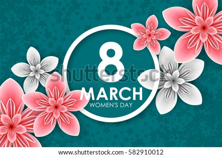 Origami greeting card with paper flowers for International Women's Day, 8 march.