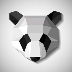 Origami head of an panda. Paper low polly animal. Logo for design