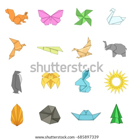 Origami icons set. Cartoon illustration of 16 origami vector icons for web
