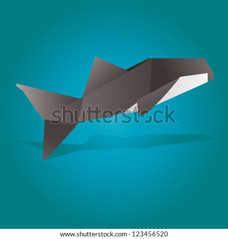 Origami illustration of an Killer  Whale