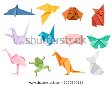 Origami japanese animal set. Modern hobby. Flat vector illustration isolated on white background. Colorful paper animals, low polygonal design. Zdjęcia stock ©