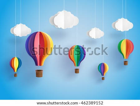 Origami made colorful hot air balloon and cloud.paper art and  digital craft style.