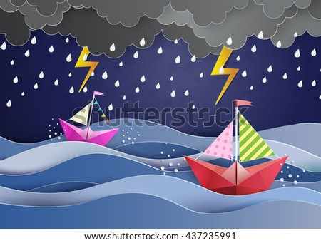 origami made colorful  sailing