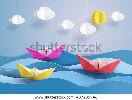 origami made colorful sailing
