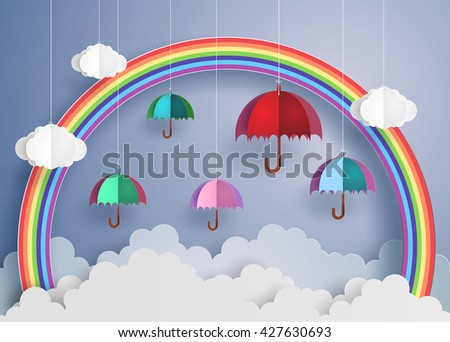 origami made colorful umbrella in the air with raining.paper art style.