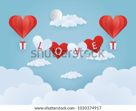Origami made hot air balloon flying on the sky with heart float on the sky, illustration of love and valentine day, vector paper art and craft style illustration. #1020374917