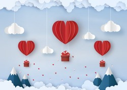 Origami made red hot air balloon float in the air, cloud and mountain in landscape, paper art design and craft style. Valentine's concept.