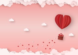 Origami made red hot air balloon float in the air, paper art design and craft style. Valentine's concept.