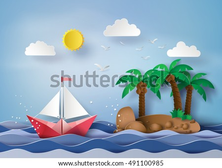Origami made  sailing boat float on the sea  .paper art style.