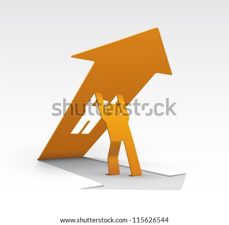 Origami Man Lifting Upwards An Arrow And Cut From Base Easy