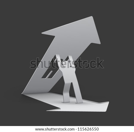 origami man lifting upwards an arrow (arrow and man cut from base), easy to change background color