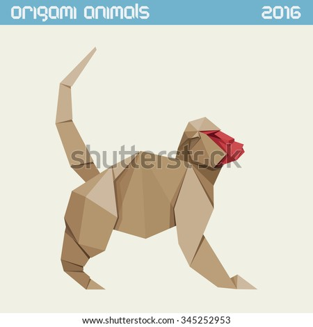 Origami monkey. Vector clear simple flat illustration. New Year 2016