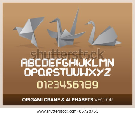Origami objects with alphabet letters and numbers. - stock vector