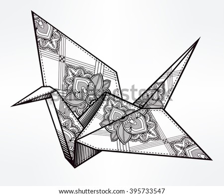 origami  ornate crane bird