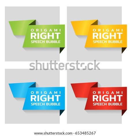 Origami paper banners for side tag. Price tag template for catalog. Color stickers for shop. Vector
