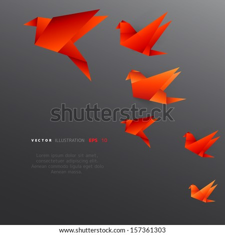 origami paper bird on abstract