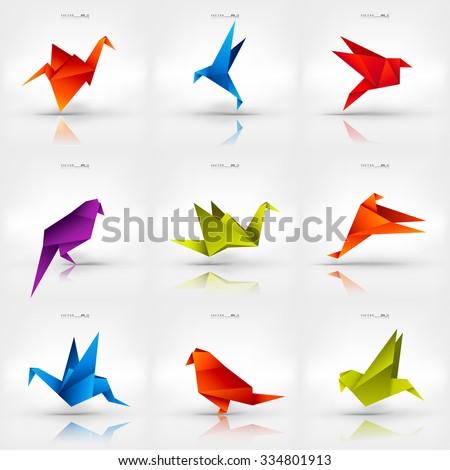 origami paper birdvector