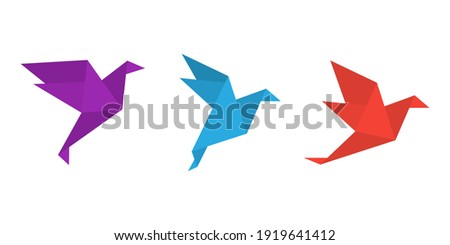 Origami paper birds in a flat style. Colorful origami birds collection. Vector illustration Zdjęcia stock ©
