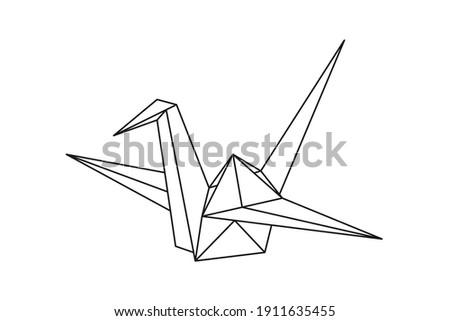 Origami paper crane bird. Geometric line shape for art of folded paper. Japanese origami. Vector illustration.