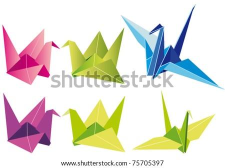 Origami paper cranes - full vector eps8 file