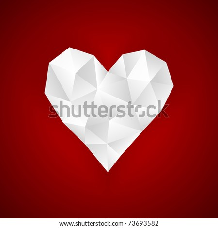 Origami paper heart on red. Vector EPS8.