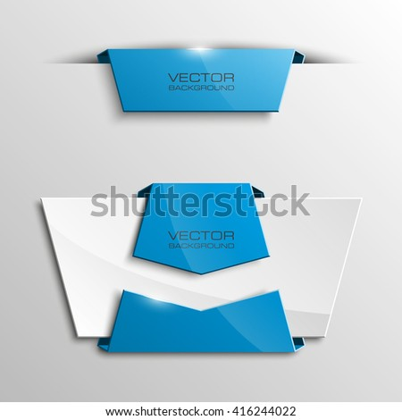 Origami paper infographic colorful banners set. Annotation ribbon. Design shape. Speech talking cloud. Vector label tag.