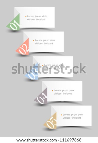 Origami paper numbered bannersCreative design template