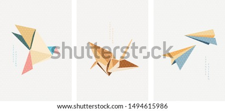 Origami paper of birds and airplane vector. Japanese icons and pattern. Zdjęcia stock ©