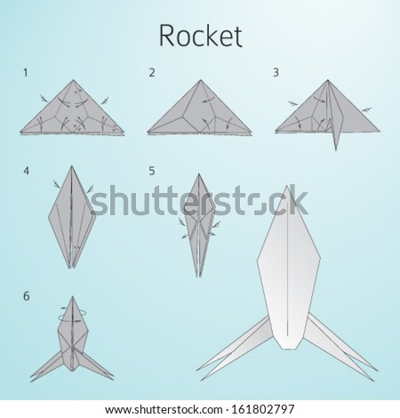 Royalty Free Stock Photos and Images: Origami paper rocket. Instructions for assembly Hqstockphotos.com