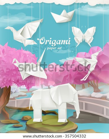 Origami paper set, vector background