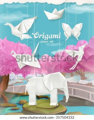 origami paper set  vector