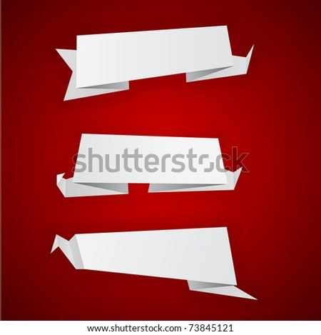 Origami paper sheets on red. Vector EPS8.