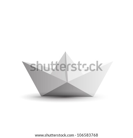 origami paper ship isolated on