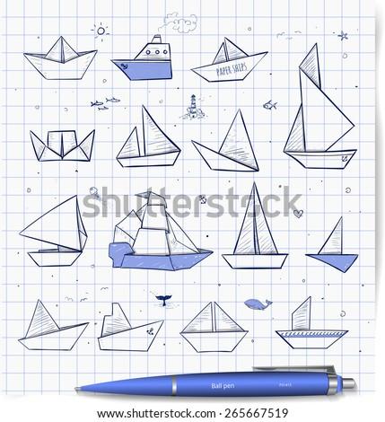 Origami Paper Ships Pen Sketches Sailing Steamboats Yachts Boats