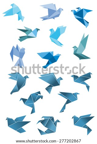 origami paper stylized blue