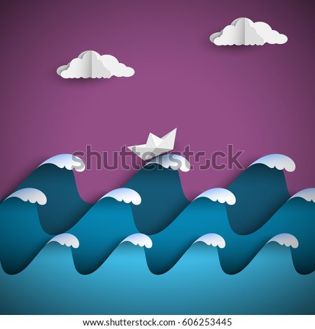 origami paper waves with clouds