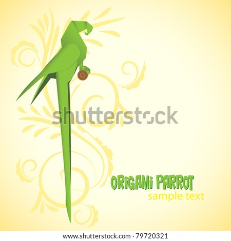 Origami parrot. Vector illustration.