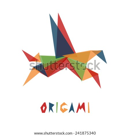 Origami pegasus isolated on white. Triangle geometric shapes abstract animal horse.