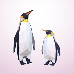 Origami penguins. Low polly Illustrated. Penguins made of paper