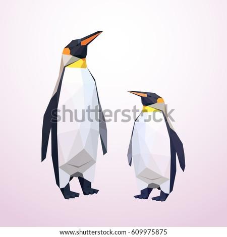 origami penguins low polly