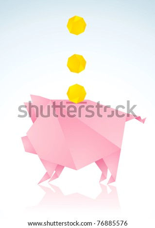 Origami pigs from pink paper and coins - stock vector