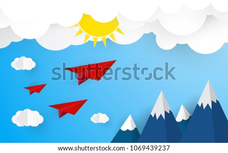 origami plane on blue sky with