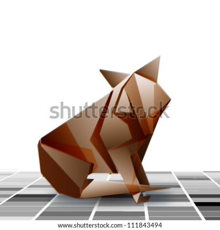 origami red fox sitting on the floor. vector design